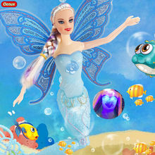 Oenux Light Princess Mermaid Doll With Butterfly Wing Fashion 40cm High Classic Moxie Swimming Mermaid Doll Toy For Girls Gifts(China)