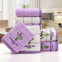 2pcs/set 34*75cm Elegant Lavender Cotton Terry Towels for Adults Face Bathroom Hand Towels Toallas de Mano CC012 Free Shipping