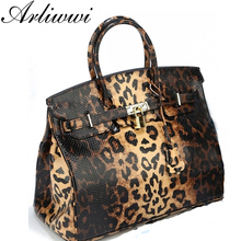 Arliwwi 3 Sizes Top grade luxurious brand designer leopard pattern Bags Women GENUINE LEATHER High Quality with lock LG1825