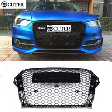 A3 RS3 Style All black Front Honeycomb Grille Racing Grills for Audi A3 RS3 front bumper 2014