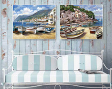 2pcs boats on the beach Canvas painting Giclee art Home deocr Wall art Wall pictures for living room Mediterranean style(China)