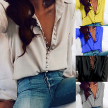 Women Ladies V-Neck Blouses Shirts Long Sleeve Loose Blouse Summer Casual Shirt Tops US Stock(China)
