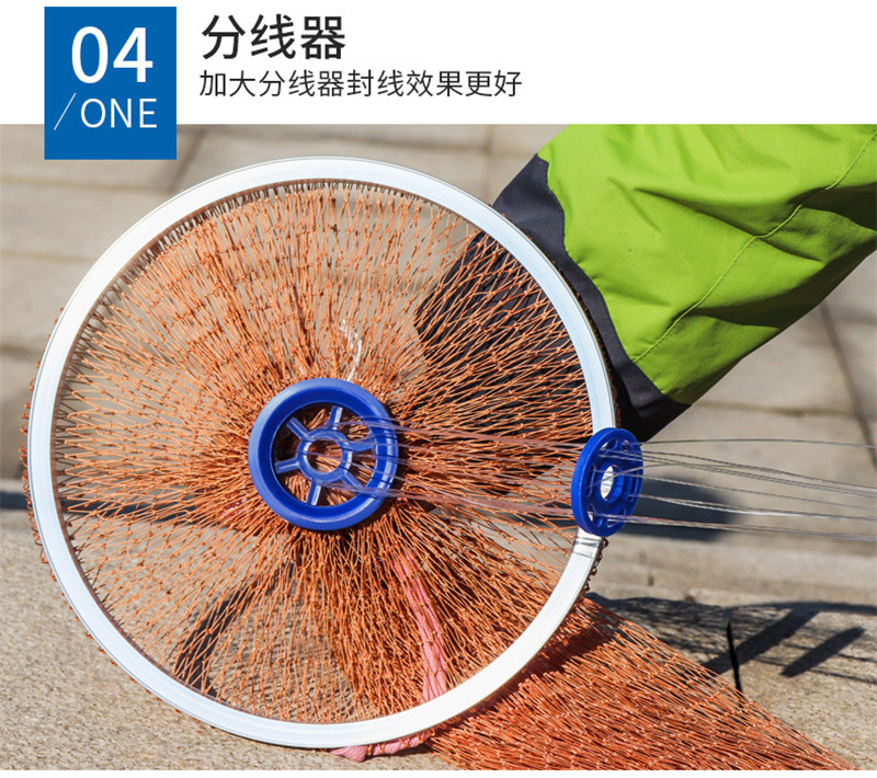 240cm 300cm American Hand Cast Fishing Net 1x1cm Small Mesh High Strength Casting Fishing Network with Cast Ring and Sinkers (11)