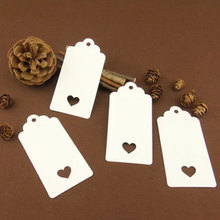 100Pcs DIY Kraft Paper Tags White Brown Rectangle Heart Label Luggage Wedding Note Blank Price Hang Tag Kraft Gift 4.5X9.5cm(China)