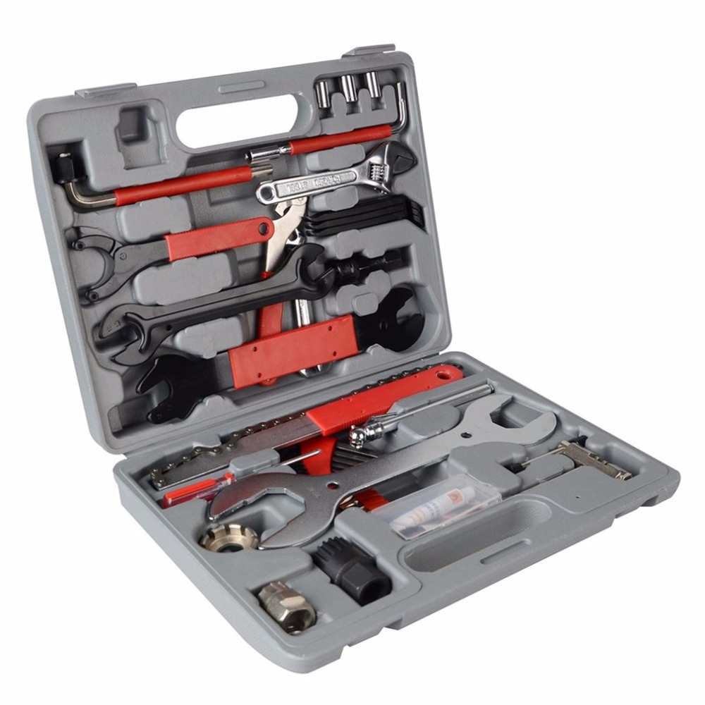 44pcs Bike Cycling Bicycle Maintenance Repair Hand Wrench Tool Kit Box Case<br>