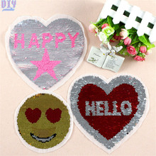 HELLO Love Hearted Reversible Sequined Sew On Patches for clothes DIY Coat Sweater Embroidered Paillette emoji Patch Applique