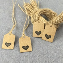 500PCS Thank you Tags +500PCS strings 3*2cm Kraft Packaging Labels DIY Gift Tags Paper Card Accept custom logo add extra cost