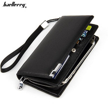 Famous brand baellerry Business Men's leather wallet with coin pocket phone case for man card holder purse male clutch bag