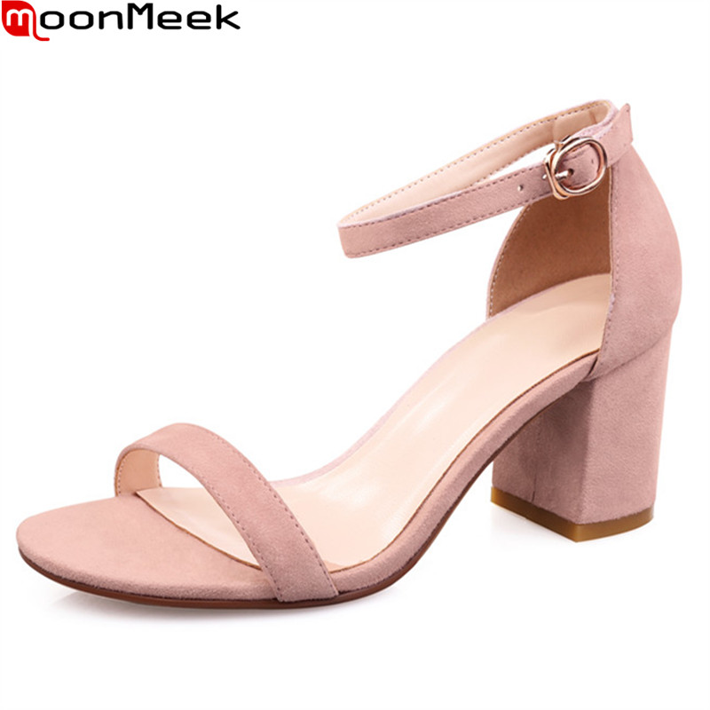 MoonMeek hot elegant sandals women high heels round toe with buckle square heel party weddding shoes black pink ladies shoes<br>