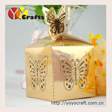 wedding wholesale gold metallic paper candy cake favor box new design butterfly Gift box