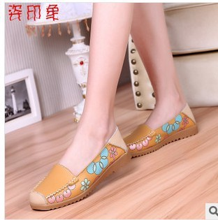 Promotions!!2014 autumn mother work shoes genuine leather women shoes Slip-on Ballet Flats Comfort Anti-skid Shoes H231-3<br><br>Aliexpress