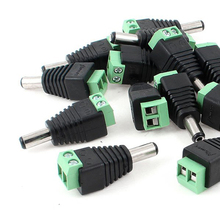 WSFS Hot 20pcs 5.5 x 2.1mm 2 Terminals DC Power Cable Male Connector for CCTV