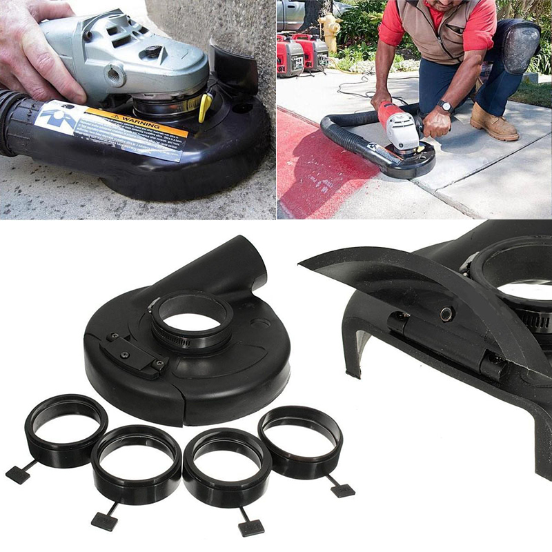 """18cm/7"""" Vacuum Dust Shroud Cover for Angle Grinder Hand Grinding Accessory with 4pcs Locating Rings for Power Tools Accessories"""