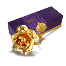 Valentine's Day Gift 24K Gold Plated Golden Rose Flower Holiday Present Wedding Party Decoration With Retailed Box Drop shipping(China)