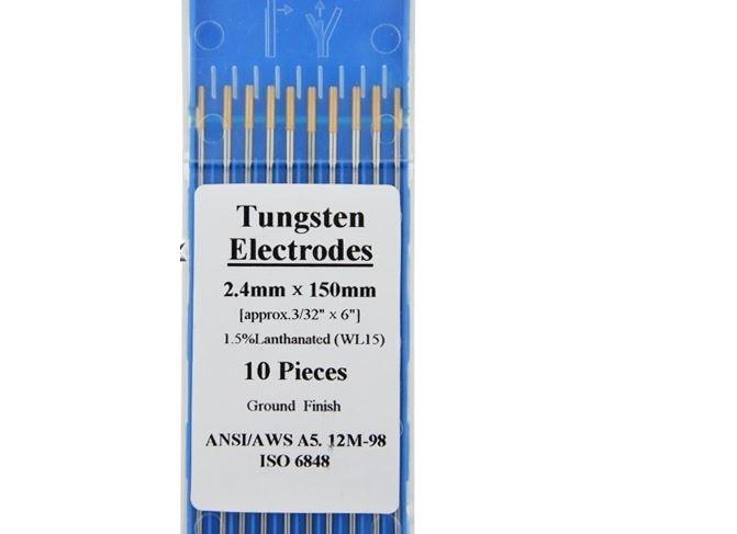 Professional 1.5% Lanthanated WL15 TIG Welding Tungsten Electrode 2.4mmx150mm 10pcs/Pack AWS LA-1.5 AC DC Golden<br><br>Aliexpress