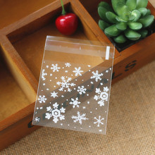 1000 X (7*7cm)Small White Snowflake Baking Gift Bags DIY Soap Cookie Self-adhesive Gingerbread Man Bag Wholesale(China)