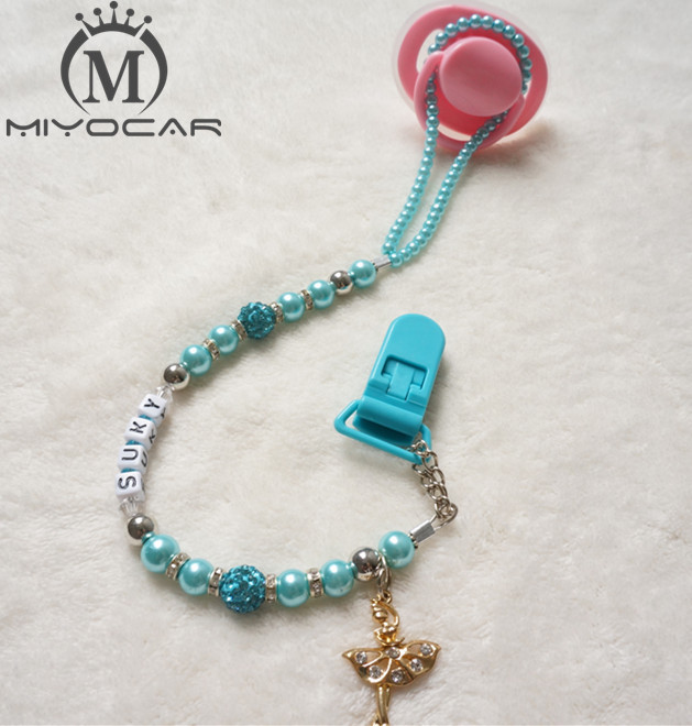 MIYOCAR ersonalised -Any name Bling Baby green pacifier chain /pacifier clips/Dummy clip/Teethers clip/pacifier holder