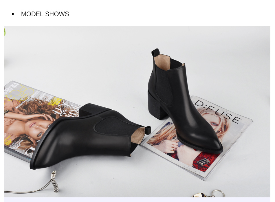 Donna-in 2017 new style genuine leather ankle boots pointed toe thick heel chelsea boots calf leather women boots ladies shoes 96350-17 (14)