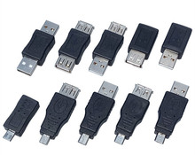 Hot Selling 10PCS Full Set USB connector male to female Micro OTG MINI OTG adapter sells in bulk Micro usb connector(China)