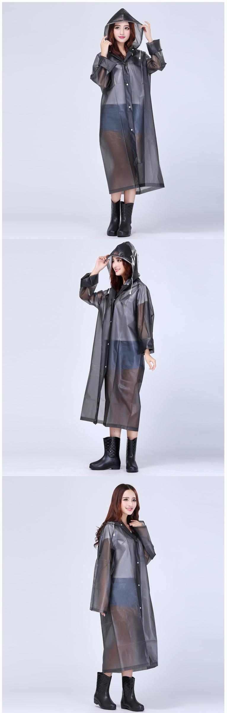 Women Transparent Portable Long Raincoats 13