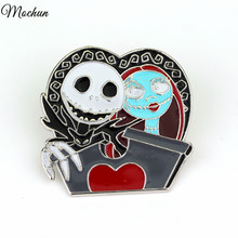 MQCHUN Scared Nightmare Before Christmas Skull Mark Fashion Pin Brooch Gifts For Men And Women Of Character Movie Jewelry(China)