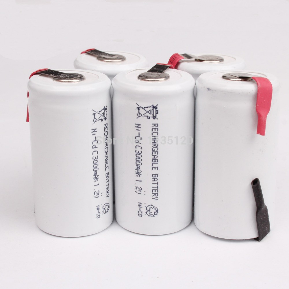 Russia hot sell white color ! 3 PCS a set  Ni-CD C 1.2V 3000 mah Rechargeable Battery<br><br>Aliexpress