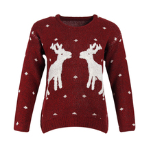 Knitting Patterns Ladies Christmas Sweater With Deer Women Sweaters Kazak Casual Warm Harajuku Jerseys Mujer Winter Tops M50002