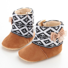 Fashion Branded Keep Warm Brown Winter Girls Baby Shoes Infant Fleece Boots Bow Toddler Girl Wool Snow Crib Prewalker 0-18months