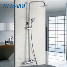 Buy KEMAIDI Luxury Bathroom Thermostatic Faucet Anti-scald Bathroom Rainfall Bath Shower Mixers Hand Shower Wall mounted for $102.70 in AliExpress store