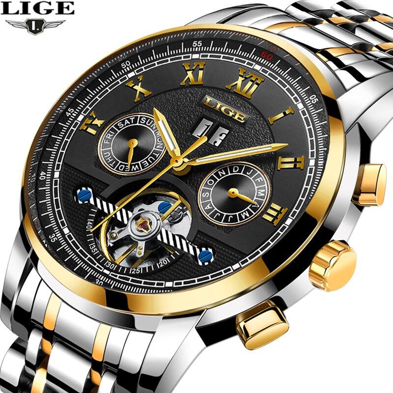 LIGE mens watches top brand luxury Sports steel strap mechanical watch Military watch waterproof mens clock relogio masculino<br>