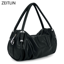ZEITLIN Fashion Women Genuenine Leather Handbags Hobos Shoulder bag Big Casual Black Leisure Shopping bag female H931