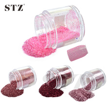 STZ 1 Bottle 10g Pink/Rose/Red Colors New Nail Designs 3d Shinning Sequin Dust Gem Nail Art Glitter Powder Tips #05/11/35/38