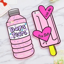 Sweet 3D Pink love Bottle ice Cream mobile Phone case soft Silicone rubber case for iPhone5 5s 6 6s 6 plus Back Cover(China)