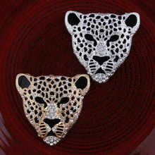 20pcs/Lot 48x50MM Leopard Head Rhinestone Button DIY Cell Phone Case Rhinestone Decoration Metal Leopard Flatback for Shoes(China)