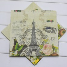 Butterfly Eiffel Tower Printed Paper Napkin Birthday Party/Baby Shower/Wedding Decoration Supplies Serviette Tissue Decoupage