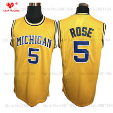 Cheap Basketball Throwback Jalen Rose Jersey #5 Michigan Wolverines College Basketball Jersey Yellow Vintage Sewn Shirt