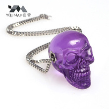 YouMap New Punk Purple Transparent Resin Skull Pendant Necklace Women Skeleton Head Chain Necklace Party Halloween Gifts V1R4
