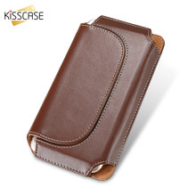 KISSCASE Leather Wallet Pocket For iPhone X 8 7 6S 6 5s 5 SE Phone Portable Pouch Belt Hook Holster Bag For iPhone 8 7 6s 6 Plus(China)