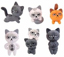 6pcs Fairy Garden Ornaments Miniature Resin grumpy cat Bonsai Dollhouse Decoration KT0796