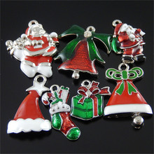7PCS Wholesale Mini Enamel Christmas Decorate Tree Hat Santa Claus Suspension Pendants Jewelry Making Accessory Handmade Crafts(China)