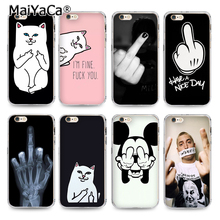 MaiYaCa Transparent Tpu Phone Accessories Case For iPhone 5s 6s 6plus 4s 7 7plus case Skull Middle Finger Cat(China)