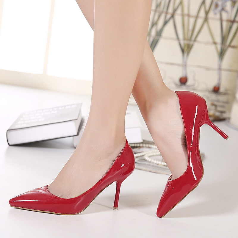 Free shipping 8 cm large size sex high heels  4.5-12 code -red<br>