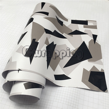 Black White Arctic Camouflage Vinyl Car Wraps Adhesive PVC Vehicle Hood Roof Motorcycle Scooter Decal Sticker Sheet Rolls(China)