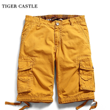 TIGER CASTLE 12 Colors Men Casual Cargo Shorts Cotton Plus Size Pockets Male Cool Shorts Tactical Men's Short knee Boardshorts(China)