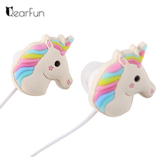 Cute Unicorns Cartoon Earphones Colorful Rainbow Horse In-ear Earphone 3.5mm Earbuds With Mic For Xiaomi Smartphone Kids Gifts(China)