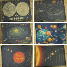 Retro Kraft Paper Poster Retro art Wall home Decoration moon earth Galaxy solar system Nine planets 21*30cm