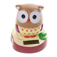Cute Solar Powered Rotatable Bobble Head Owl Home Desk Office Car Ornament Toy Gift(China)