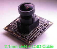 "2.1mm LEN EFFIO-A 1/3"" Sony Super HAD CCD ICX810, ICX811 sensor CXD4151 CCTV camera module PCB board with OSD cable(China)"