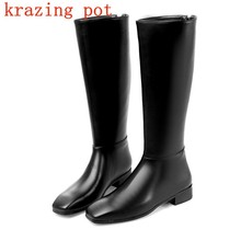 Krazing Pot cow leather European designer zipper low heels keep warm riding boots streetwear fashion nude thigh high boots L40(China)