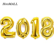 Hoomall 4Pcs/Set 16 inch Foil Balloon Helium Number Balloons 2018 New Year Home Party Decoration Golden Color Wedding Supplies(China)
